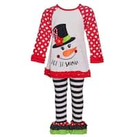 Rare Editions Little Girls Red White Polka Dot Snowman 2 Pc Pant Outfit