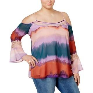 Jessica Simpson Womens Plus Blaire Blouse Chiffon Lace Inset