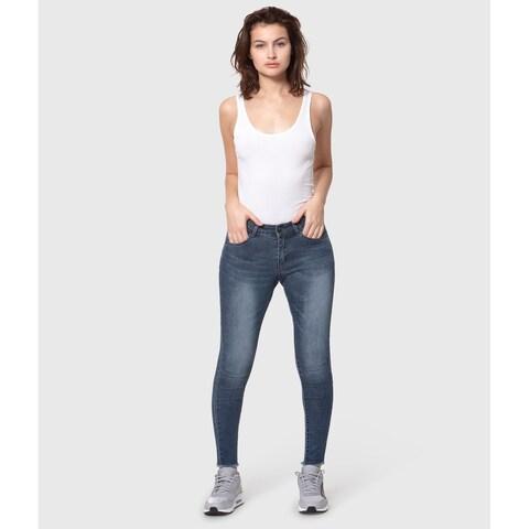 Lola Anna-JBLK, Mid Rise pull on skinny ankle pants