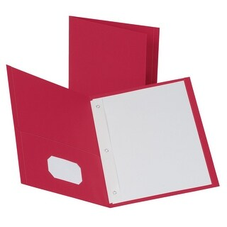 Oxford 2 Pocket Folders with Fasteners, Red, Pack of 25