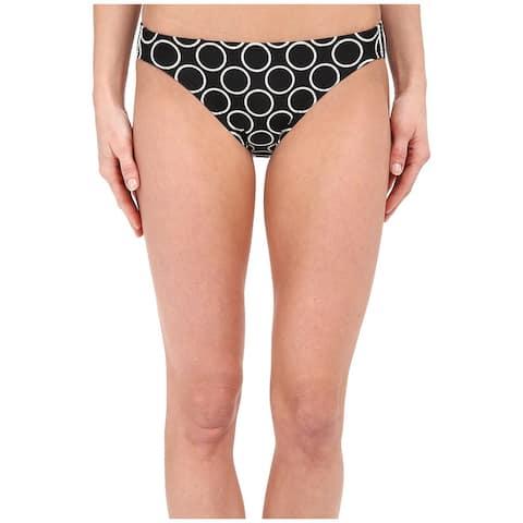 DKNY Womens Swimwear Black Size Large L Printed Hipster Bikini Bottom