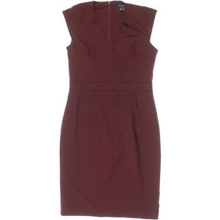 French Connection Womens Stretch Cap Sleeves Cocktail Dress