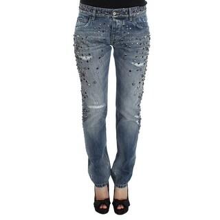 Dolce & Gabbana Dolce & Gabbana Blue Wash Stretch Crystal Studded Jeans - it46-l
