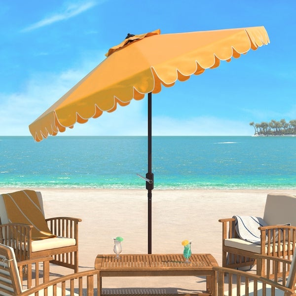 SAFAVIEH Venice Single Scallop 9 Ft Crank Yellow/ White Outdoor Umbrella. Opens flyout.