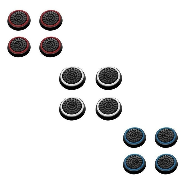 Insten White/ Red/ Blue Controller Analog Thumbstick Cap for Playstation 4 PS4/ PS3/ PS2/ Micrsoft Xbox 30/ Xbox One (Set of 8)