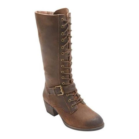 Rockport Women's Cobb Hill Anisa Tall Lace Up Boot Tan Leather