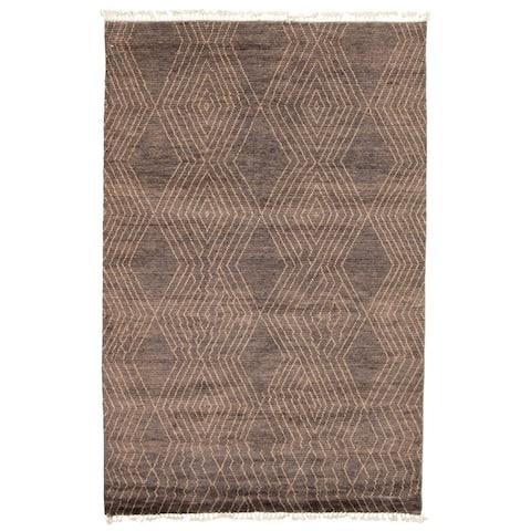 ECARPETGALLERY Hand-knotted Pak Finest Marrakesh Grey Wool Rug - 5'11 x 9'3