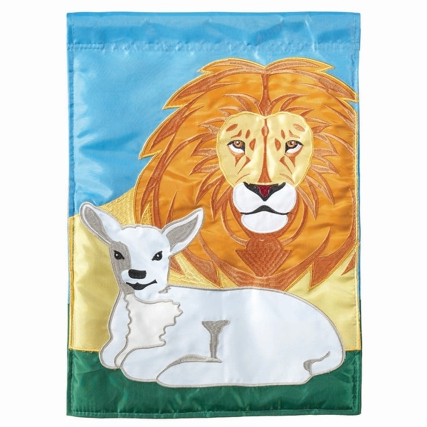 """Lion and Lamb Peaceful Garden Flag 42"""" x 30"""" - N/A"""