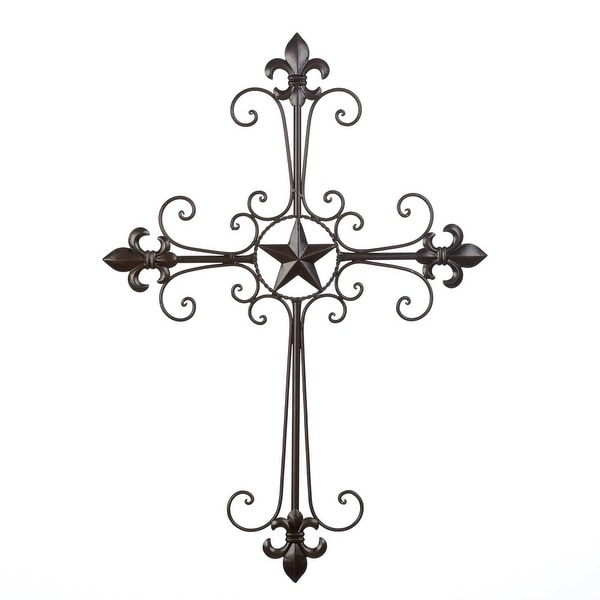 Wrought Iron Fleur De Lis Wall Cross