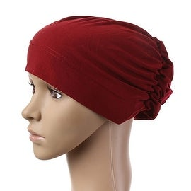 Muslim Scarf Kerchief Hat Flower Casual wine red