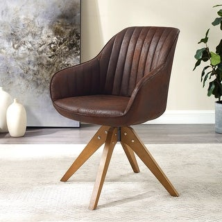 Link to Modern Home Office Swivel Arm Accent Chair with Wood Legs Similar Items in Accent Chairs