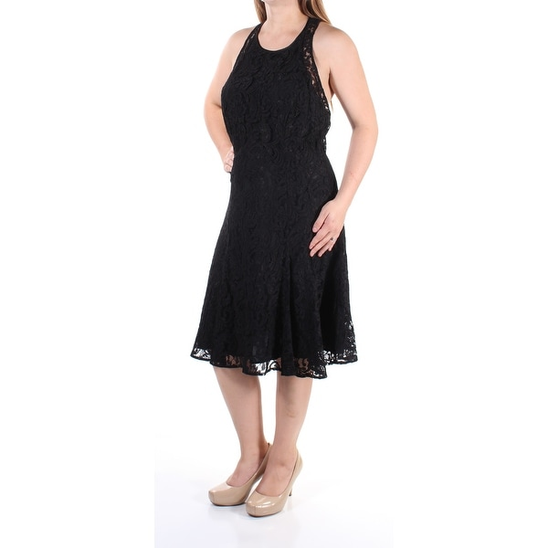Shop Womens Black Sleeveless Below The Knee Fit Flare Formal Dress