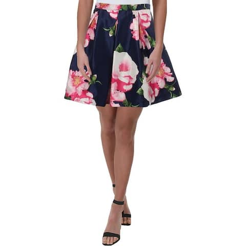 Sequin Hearts Womens Juniors A-Line Skirt Floral Print Pleated - Navy Multi