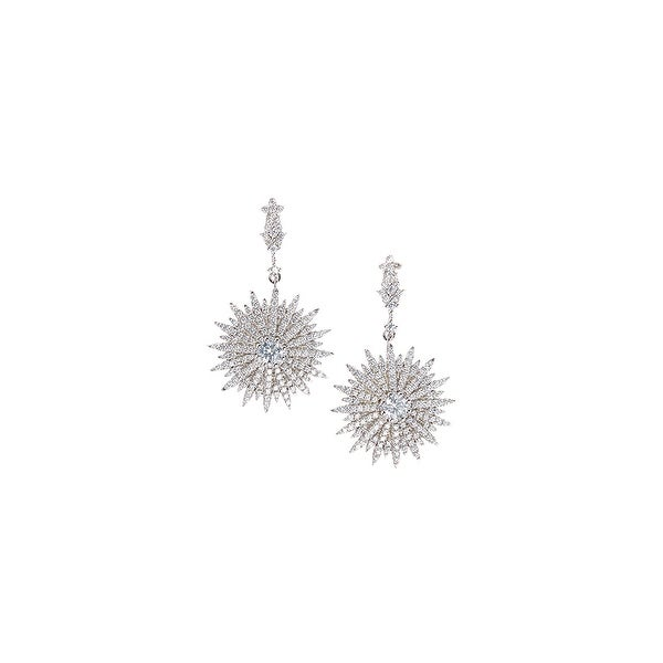925 Sterling Silver Drop Starburst Stud Earrings with Cubic Zirconia