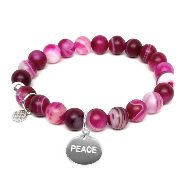 "Fuchsia Agate Peace Silver Charm Lucy 7"" Bracelet"