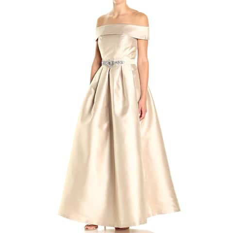 d6bd2fa1152 Eliza J Beige Women s Size 12 Off The Shoulder Roll Collar Gown