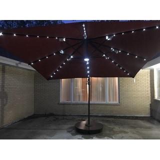Santorini II Fiesta 10-ft Square Cantilever Solar LED Umbrella - Sunbrella Acrylic