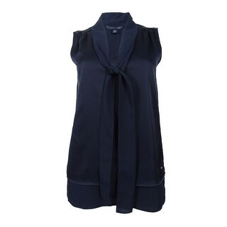Tommy Hilfiger Women's Tiered Bow-Tie Blouse - Navy