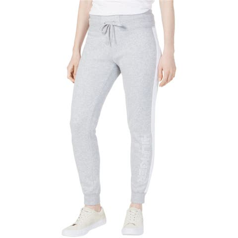 Tommy Hilfiger Womens Fleece Athletic Jogger Pants, grey, X-Large