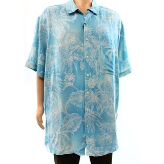 Tasso Elba NEW Blue Palm Printed Mens Size 2XLT Hawaiian Silk Shirt