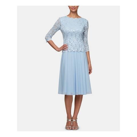 ALEX EVENINGS Light Blue 3/4 Sleeve Below The Knee Dress 8