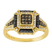 1/2 ct Black, Brown, & White Diamond Cushion Ring in 14K Gold