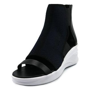 Elie Tahari Stadium Women  Open Toe Leather Black Wedge Sandal