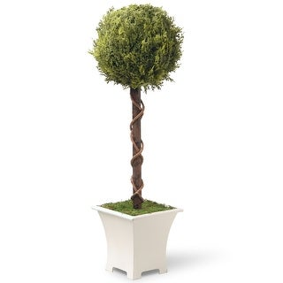 "30"" Potted Single Ball Topiary Artificial Entrance Tree"