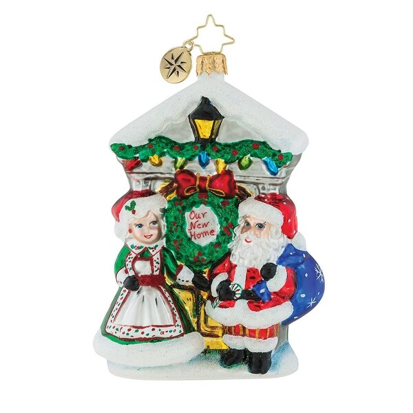 "5.25"" Christopher Radko ""Holiday Threshold"" Glittered Glass Christmas Tree Ornament #1019403"