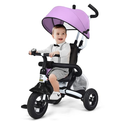 Baby Tricycle 6-in-1 Foldable Steer Stroller Adjustable Canopy Pink