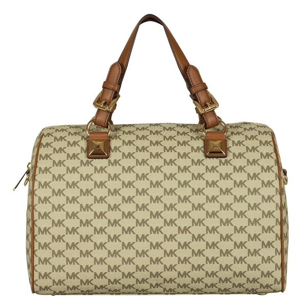 870a37f632c0 Shop Michael Kors Large Grayson Satchel Handbag in Natural/ Acorn - Free  Shipping Today - Overstock - 25737082
