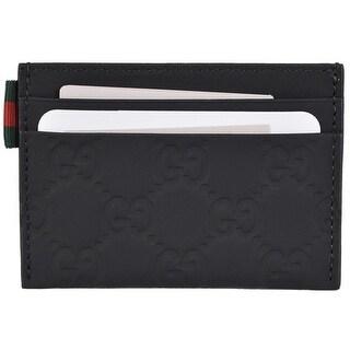 Gucci Men's 322190 Black Neoprene Red Green Web GG Guccissima Card Case