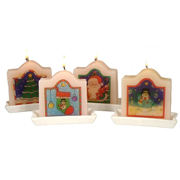 """Club Pack Of 72 Tree, Santa Claus Stocking and Snowman Christmas Candles 4.25"""""""