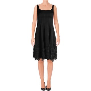 Nanette Lepore Womens Semi-Formal Dress Sateen Lace Trim