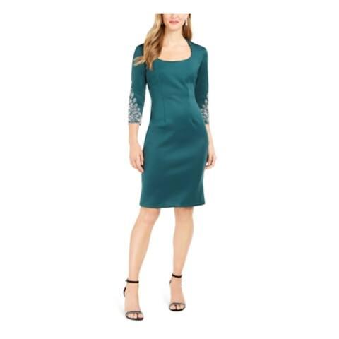 SLNY Green 3/4 Sleeve Above The Knee Dress 8