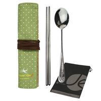 JAVOedge Steel Chopsticks and Spoon Lunch Silverwear Set with Wrap Holder - Beige