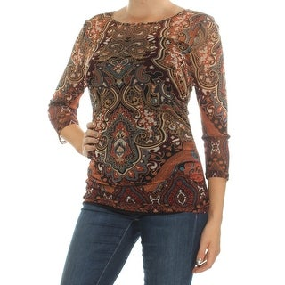 INC Womens Brown Printed 3/4 Sleeve Jewel Neck Top Size: M