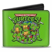 Classic Teenage Mutant Ninja Turtles Battle Pose8 Manhole Cover Green Black Bi-Fold Wallet - One Size Fits most