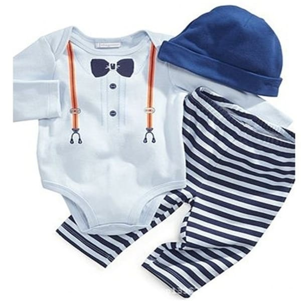 d33dcaeb89c7 Baby boys clothing rompers sets 3pcs suits kids hat+shirt+pants clothes set