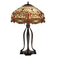 """Meyda Tiffany 17500 30.5"""" H Tiffany Hanginghead Dragonfly Table Lamp - beige flame - n/a"""