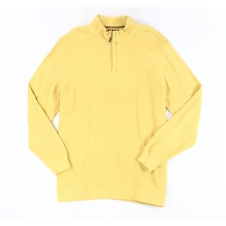 Tasso Elba NEW Yellow Mens Size 2XL Pull-Over Texture 1/2 Zip Sweater