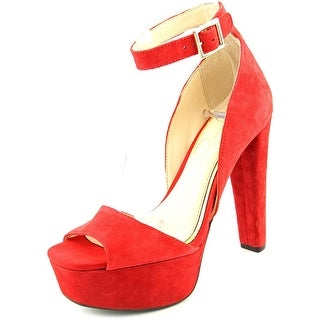Jessica Simpson Athens Women Open Toe Suede Red Platform Heel
