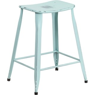 Brimmes 24'' High Distressed Green-Blue Metal Indoor/Outdoor/Patio/Bar Counter Height Stool