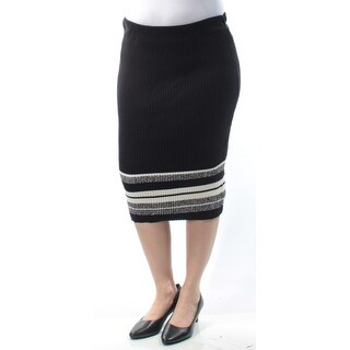 BAR III $60 Womens New 1296 Black Striped Knee Length Pencil Casual Skirt L B+B