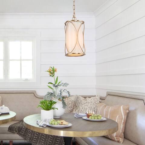"""Modern 1-light Gold Pendant Cylinder Kitchen Islands Fabric Light Fixture - D6.5""""*H12.6"""""""