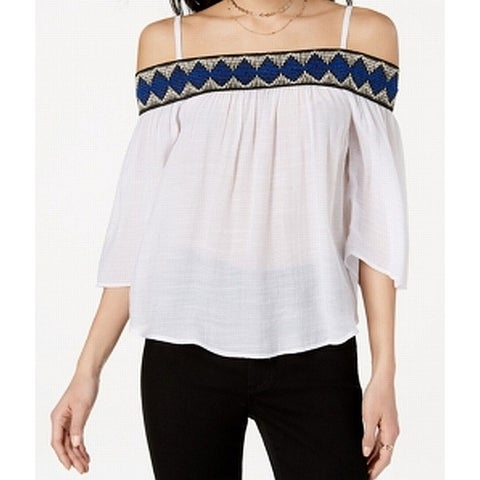 BCX White Women Small S Pattern Embroidered Off Shoulder Blouse