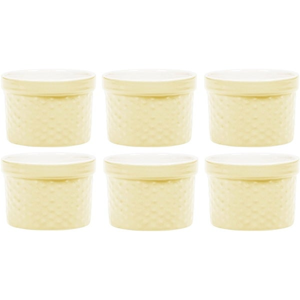 Palais Dinnerware Ramekins Collection Porcelain Soufle Dishes 4 Oz - Set of 6, Pastel Yellow - Dots Finish. Opens flyout.
