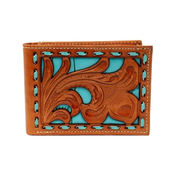 Nocona Western Wallet Mens Bifold Removable Pass Case Turq - One size