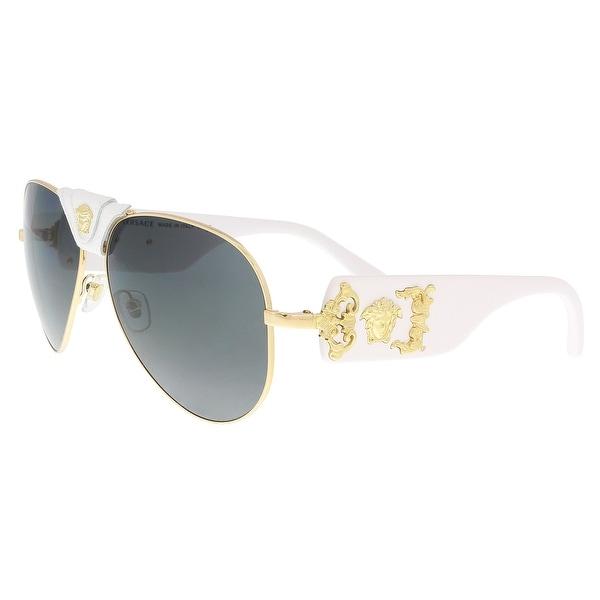 a91a73ba71d Shop Versace VE2150Q 134187 Gold Aviator Sunglasses - 62-14-140 ...