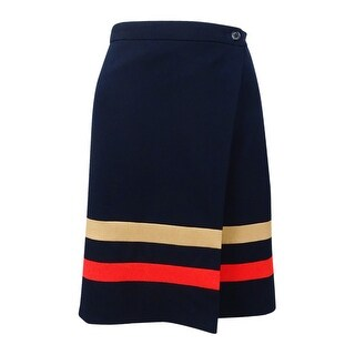 Tommy Hilfiger Women's Striped Faux-Wrap Skirt (8, Navy) - Navy - 8